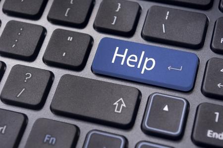teclado de computadora: Teclado mensaje con soportes en l�nea o conceptos de ayuda. Foto de archivo