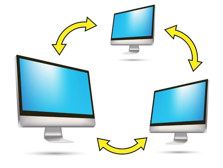 file share: for computer networking or files sharing or transfering concepts  Illustration