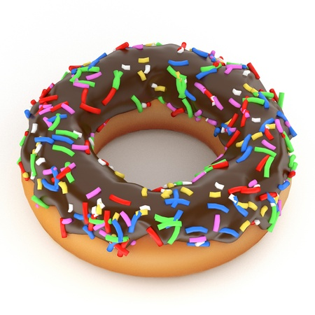 isolated glazed donut or doughnut with chocolate coating, 3d rendering  photo