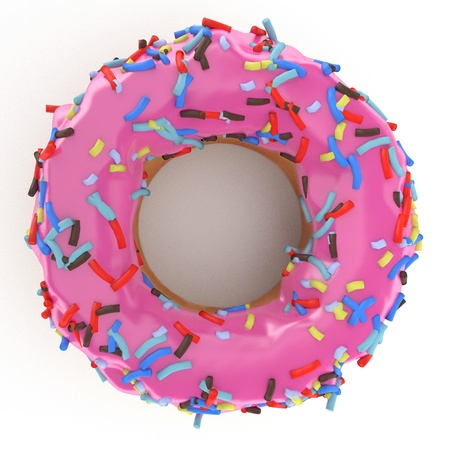 doughnut: isolated glazed donut or doughnut with pink coating, strawberry flavor, 3d rendering