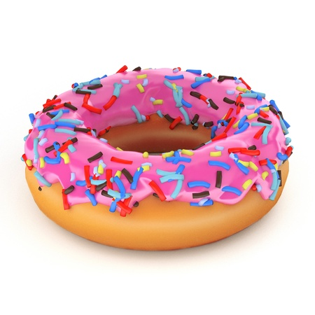 isolated glazed donut or doughnut with pink coating, strawberry flavor, 3d rendering Reklamní fotografie - 15324626