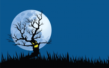 halloween tree: illustrations of spooky full moon night