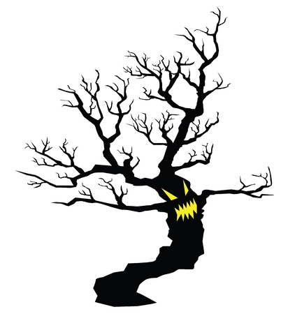 tree silhouettes: illustrations of evil tree spirits with grinning smiles