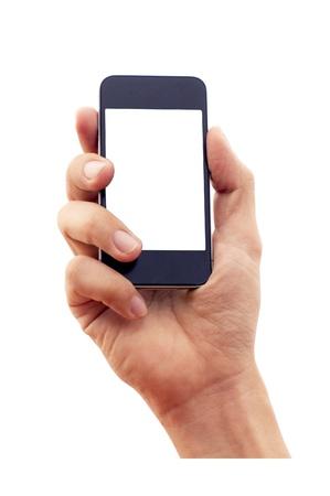 Geïsoleerde hand houden smartphone of telefoon, met de hand omtrek en de telefoon wordt weergegeven. Stockfoto - 15537710