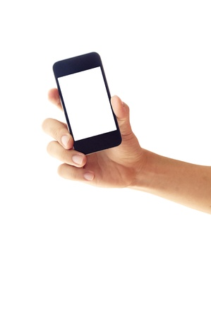answer phone: isolated hand holding smartphone or phone,  hand outline and the phone screen.