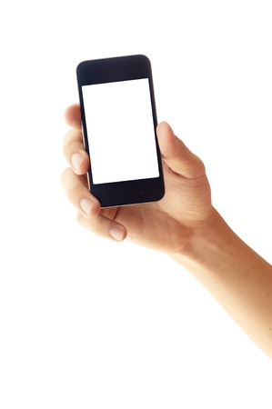 isolated hand holding smartphone or phone, hand outline and the phone screen. photo