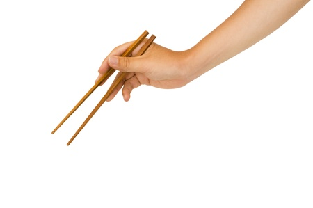 isolated man hand holding wooden chopstick