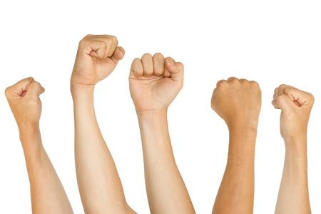 geïsoleerde vuisten, om te protesteren, ondersteuning, vechten concepten.