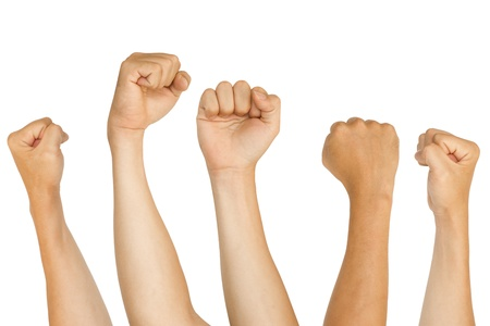 clenched fist: isolated fists, for protest, support, fighting concepts.