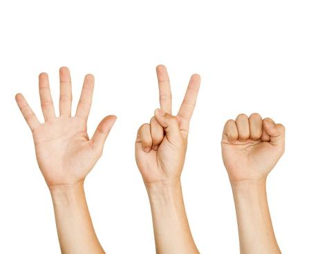 desacuerdo: mano aislada con signo de piedra, papel, tijeras juegos.