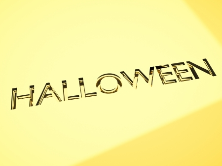 halloween greetings message with engraving effect on gold surface, 3d render. Stock Photo - 16111770