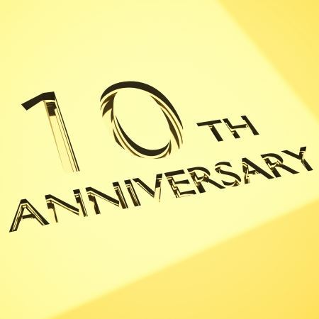 number 10: gold engraving of 10th anniversary words, for celebrations. 3d render.