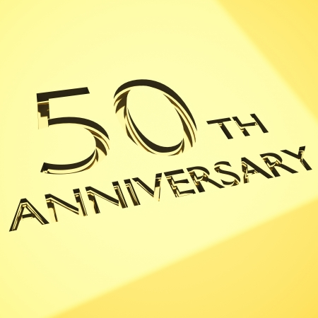 gold engraving of 50th anniversary words, for celebrations. 3d render. photo