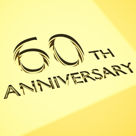 60 years: gold engraving of 60th anniversary words, for celebrations. 3d render.  Stock Photo
