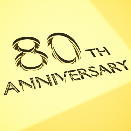 80: gold engraving of 80th anniversary words, for celebrations. 3d render.