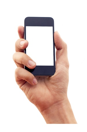 hand grip: isolated hand holding smartphone or phone, two clipping path is in jpg, hand outline and the phone screen. Stock Photo