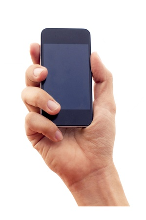 isolated hand holding smartphone or phone. clipping path of hand and screen are in jpg. photo