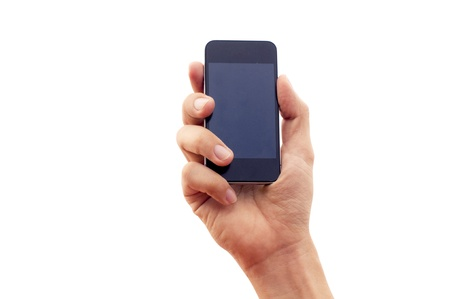 isolated hand holding smartphone or phone, with clipping path in jpg. Stock Photo - 16262065