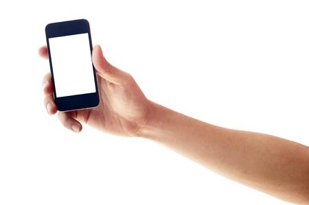 Geïsoleerde hand houden smartphone of telefoon, twee clipping path in jpg, hand schets en het telefoonscherm Stockfoto - 16262066