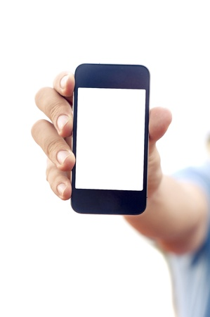 man hand is holding smartphone or phone to show what is on the phone  clipping path of the screen is in jpg  photo