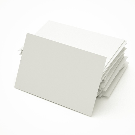 note card: blank business cards in stack, to replace with own image. Stock Photo