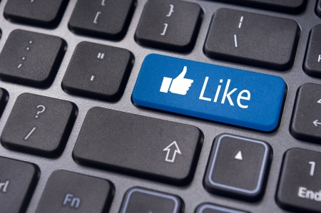 encourage: A like message on enter keyboard for social media concepts.