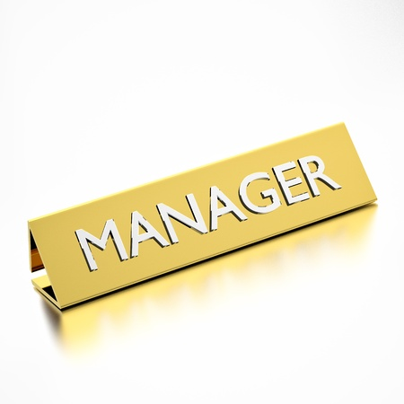 manager job title on nameplate, for career professions. 3d render. photo