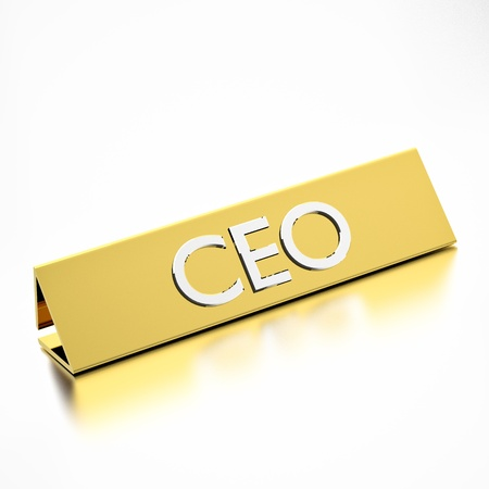 chief executive officers: CEO job title on nameplate, for career professions. 3d render. Stock Photo