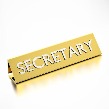 nameplate: Secretary job title on nameplate, for career professions. 3d render.
