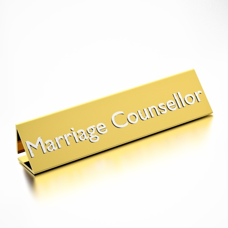 counsellor: marriage counsellor job title on nameplate, for career professions. 3d render. Stock Photo