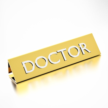 Doctor job title on nameplate, for career professions. 3d render. photo