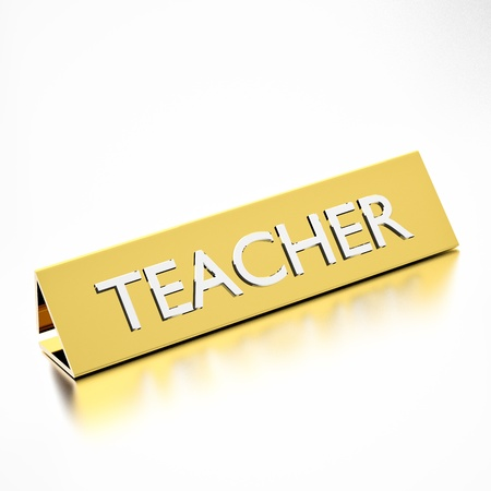 name tags: Teacher job title on nameplate, for career professions. 3d render. Stock Photo