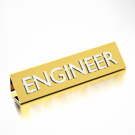 nameplate: Engineer job title on nameplate, for career professions. 3d render.