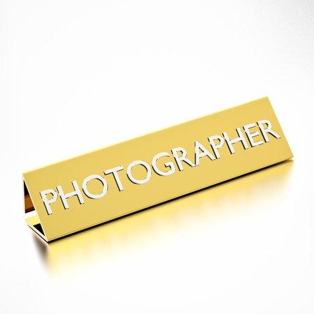 Photographer job title on nameplate, for career professions. 3d render. photo
