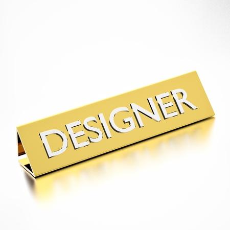 nameplate: Designer job title on nameplate, for career professions. 3d render. Stock Photo