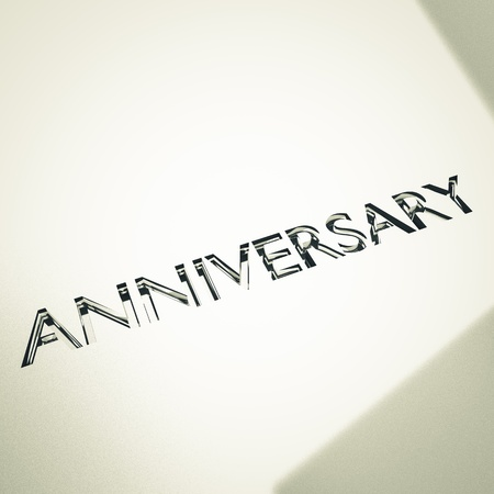 engraving of anniversary words on silver or platinum surface, for celebrations. Stock Photo - 17420715