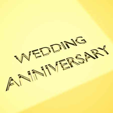 engraved message for wedding anniversary concepts. 3d render. photo
