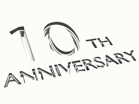 numero diez: grabado aislado de las palabras del 10 º aniversario, para celebraciones. 3d. Foto de archivo