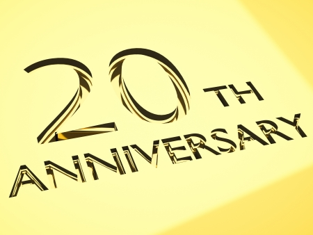 anniversary backgrounds: gold engraving of 20th anniversary words, for celebrations. 3d render. Stock Photo