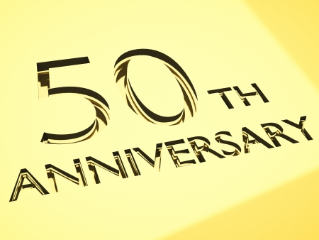 number 50: gold engraving of 50th anniversary words, for celebrations. 3d render. Stock Photo