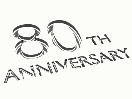 80: engraving of 80th anniversary words, for celebrations. 3d render.