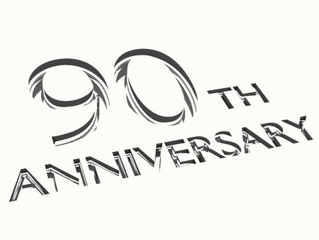 90: engraving of 90th anniversary words, for celebrations. 3d render.