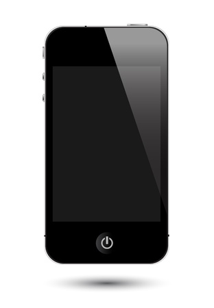 smartphone hand: Illustration of touch screen smartphone Stock Photo