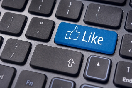 social life: A like message on enter keyboard for social media concepts.