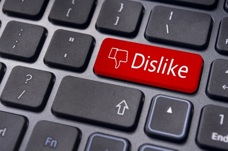 A dislike message on enter keyboard for anti social media concepts. Stock Photo - 17778214