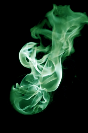 dynamic heat black: greenish fire with a black background, abstract background.