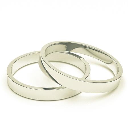 anillos de boda: Un par de plata aislado o anillos de bodas de platino. Foto de archivo