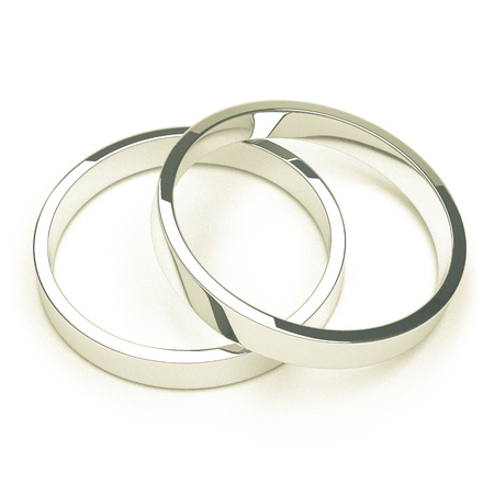 platinum wedding ring: A pair of isolated silver or platinum weddings rings.