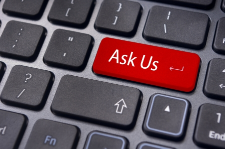 enquiry: a message on keyboard enter key for communication concepts
