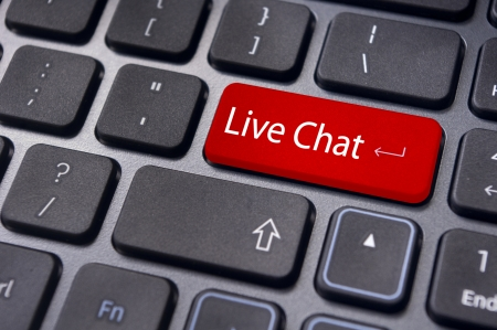 chat button: live chat, communication with online business Stock Photo